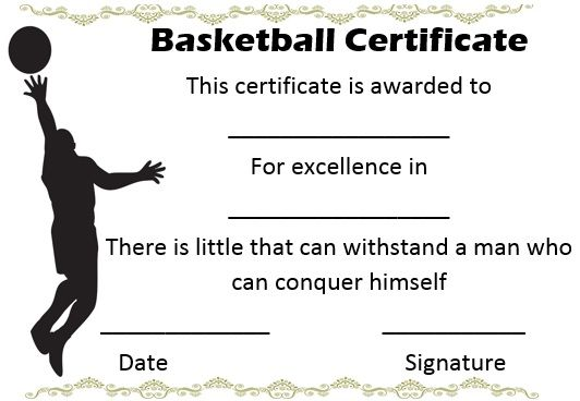 Youth Basketball Certificate Templates  Basketball Certificate