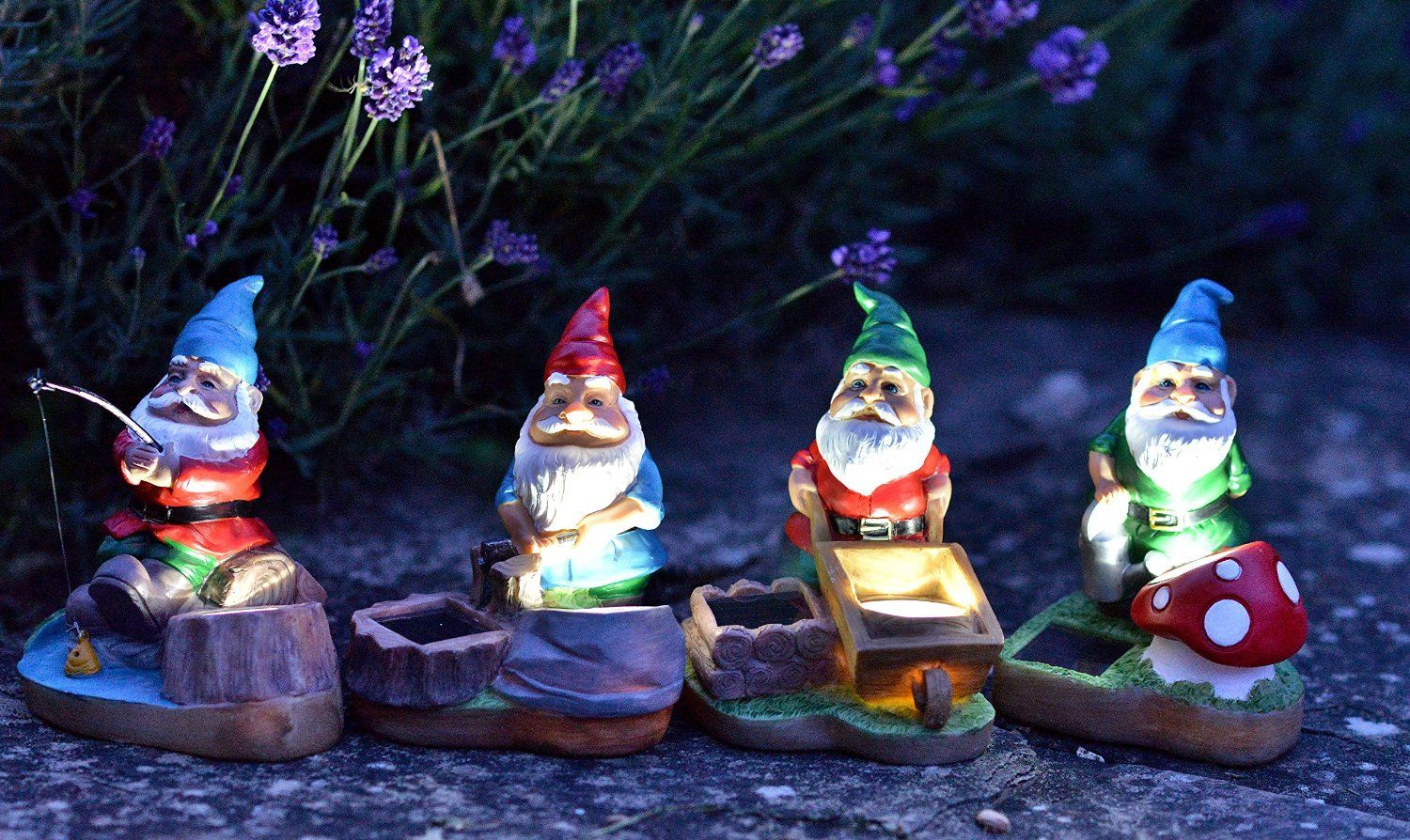 Smart Solar Gnome Spotlights 4 pack Multicoloured
