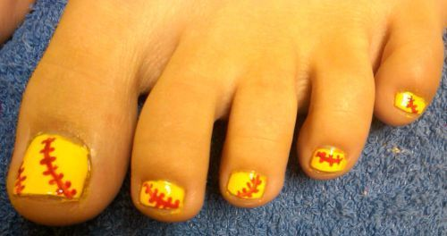 Baseball design pedicure! This would go perfectly with flip flops for a  Syracuse Chiefs game this summer! - Baseball Design Pedicure! This Would Go Perfectly With Flip Flops