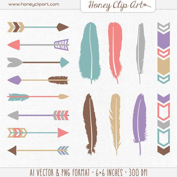 Tribal Arrow Clip Art Digital Feather Teepee Clipart Aztec Native American Feather Clip Art Feather Painting Clip Art