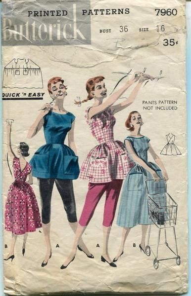 vintage sewing pattern 1950's Apron Coverall Dress