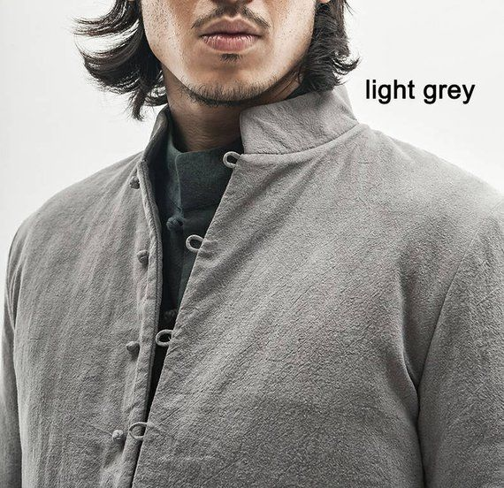 Classic Asian Design/ Linen Men's Winter Coat With Cotton