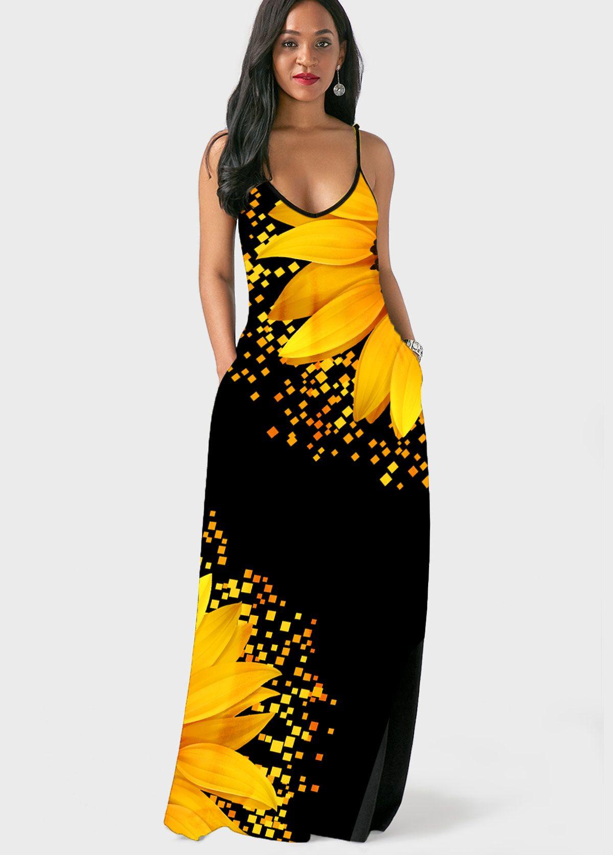 Spaghetti Strap Sunflower Print Side Pocket Maxi Dress Maxi Dress Pocket Maxi Dress Maxi Dress Tutorials [ 1674 x 1200 Pixel ]