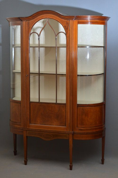 Stunning Edwardian Display Cabinet - Vitrine - Antiques Atlas - Stunning Edwardian Display Cabinet - Vitrine - Antiques Atlas