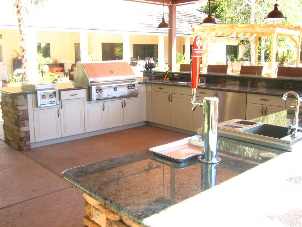 built in grill and kegerator from soleic outdoor kitchens outdoor