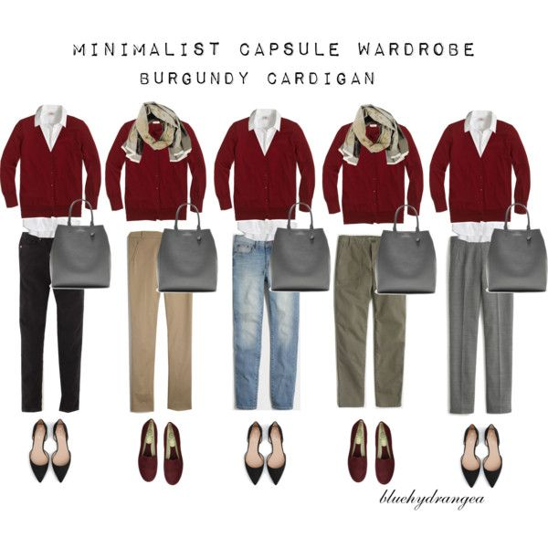 Minimalist Wardrobe - Fall 2015 - Burgundy Cardigan by bluehydrangea on Polyvore featuring J.Crew, Boden, Zara, Rêve D'un Jour, Banana Republic and Lost & Found