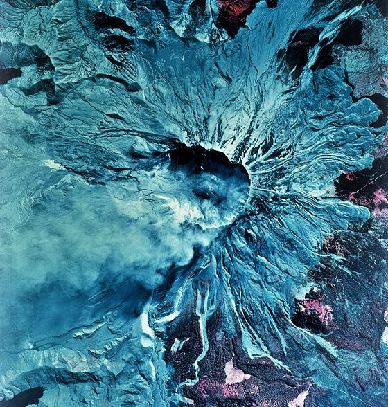 Striking color-IR aerial photo of Mount St. Helens after it erupted on May 18, 1980.