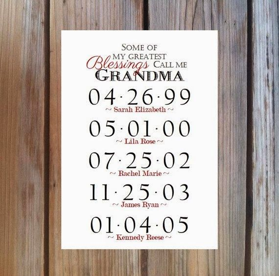 GRANDMA GIFT Grandchildren Birthday Dates By