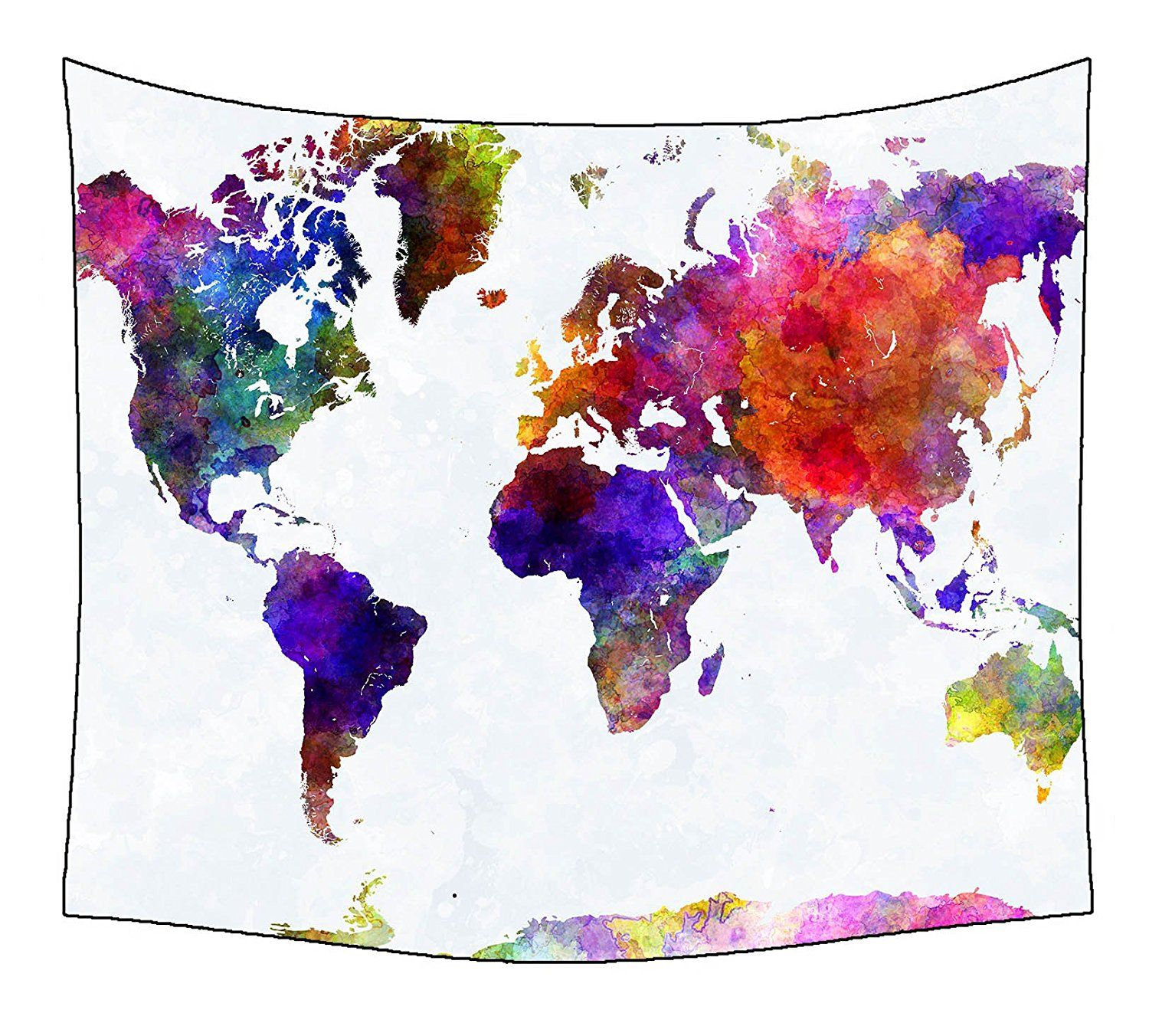 Custom home decor colorful world map wall tapestry wall hanging art custom home decor colorful world map wall tapestry wall hanging art splatter painting 51 x gumiabroncs Images