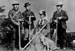 "Miss Meta Brevoort (1825 to 1876) American mountaineer who schooled in Paris, climbed for over ten seasons with W.A.B. Coolidge (the greatest alpine historian of the Victorian age). She wore wool trousers and gaiters when climbing, but never allowed photos of it. Her dog ""Tschingel"" was made an honorary Lady member of the Alpine Club. Wikipedia, the free encyclopaedia."