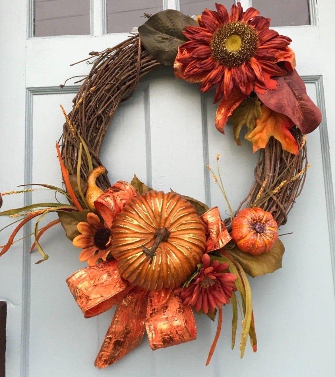 farmhouse wreath Fall or Autumn Floral Grapevine Wreath for Door grapevine wreath for front door Fall Floral Wreath for front door