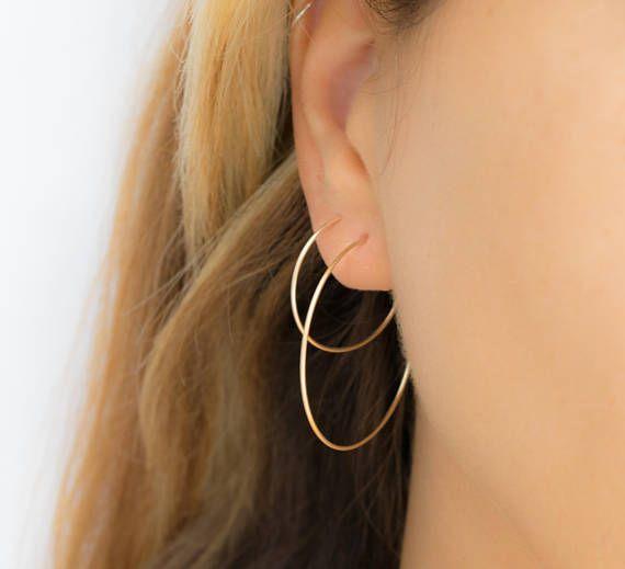 Simple Clic Hoop Earrings Skinny Hoops Large Medium Gold Rose