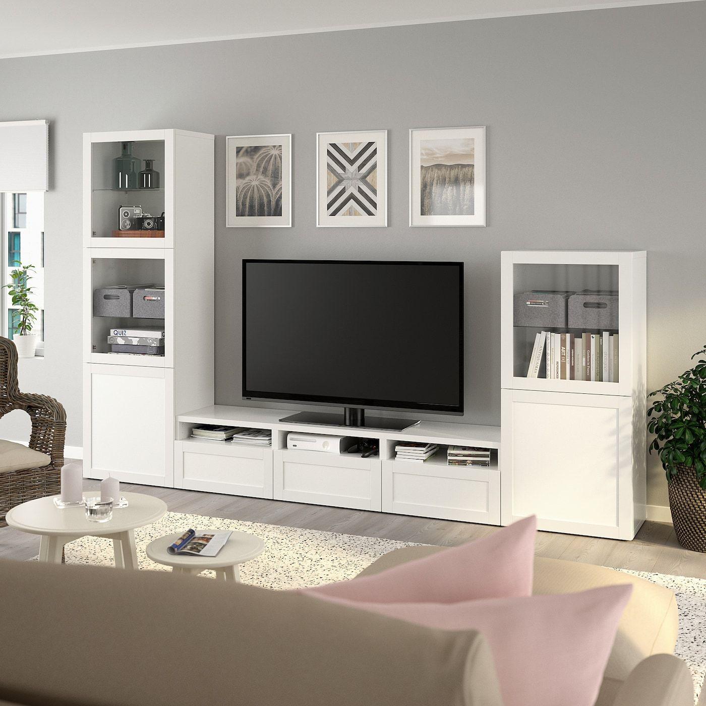 Besta Combinazione Tv Ante A Vetro Bianco Hanviken Vetro Trasparente Bianco Ikea It Vetro Trasparente Porta In Vetro Design Per Il Soggiorno