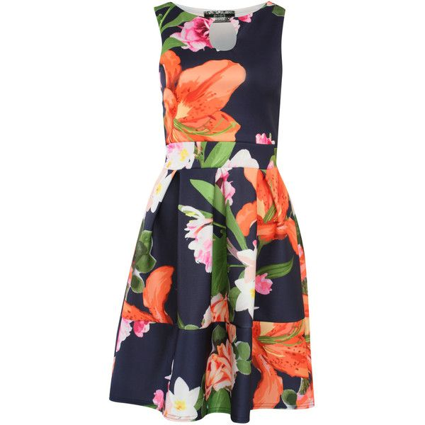 Pilot Tropical Flower Print Skater Dress ($35) ❤ liked on Polyvore featuring dresses, navy blue, cut out skater dress, navy skater dress, floral summer dresses, print skater dress and summer dresses