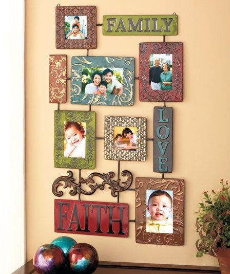 Hanging Picture Frame Photo Collage Wall Decor Embossed Metal Family ...