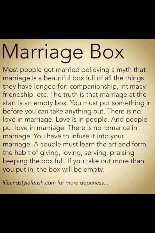 The Marriage Box I Think This Is A Step People Tend To Forget