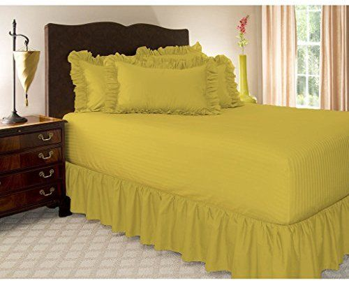 Hotel Collection Luxurious And Hypoallergenic 300 Thread Count Egyptian Cotton Bed Skirt 15 Inch Drop Yellow Twin By Alter Solid Dust Ruffle