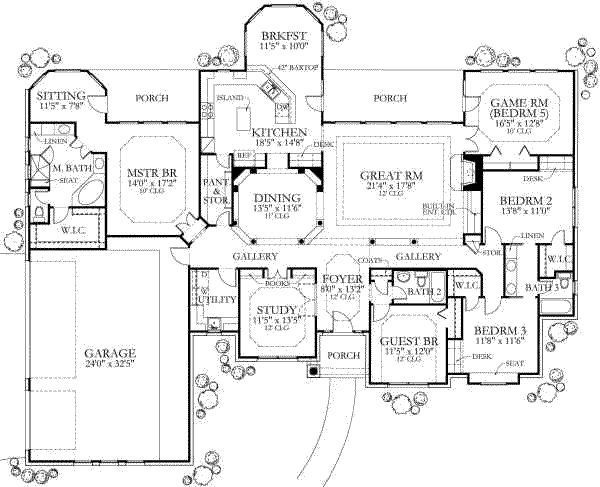 5 Bedroom House Designs 3082 5 Bedroom Ranch With Master On Opposite Side Of House From