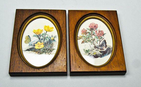 Vintage Wood Framed Floral Print Pair Hand от olliesfinethings, $39.00