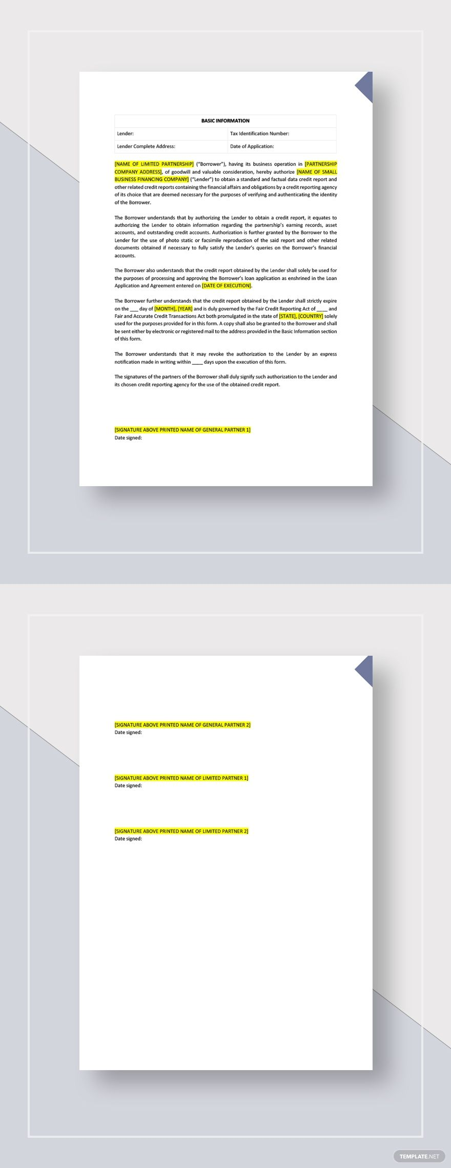 Credit Report Authorization Form Template Free Pdf Word Doc Apple Mac Pages Google Docs Document Templates Templates Word Doc