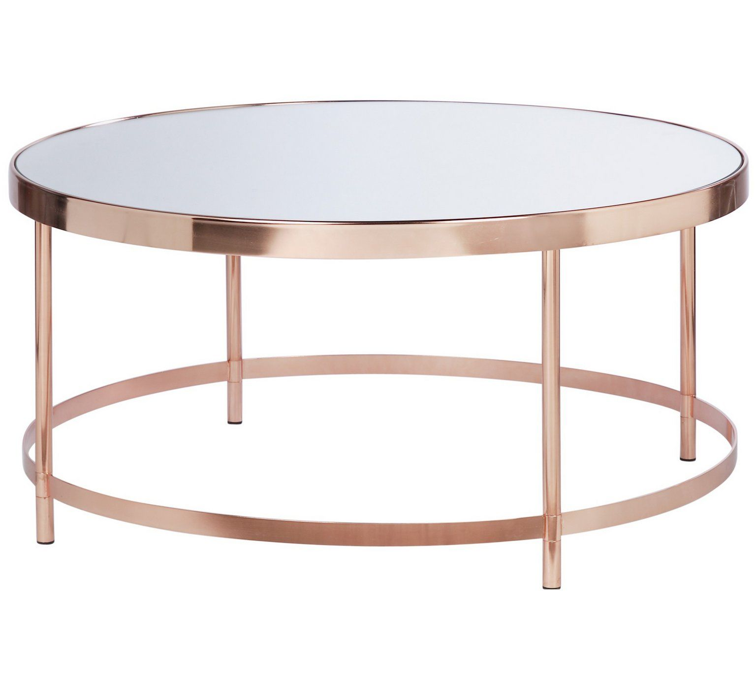 Buy Collection Round Glass Top Coffee Table Copper Plated at