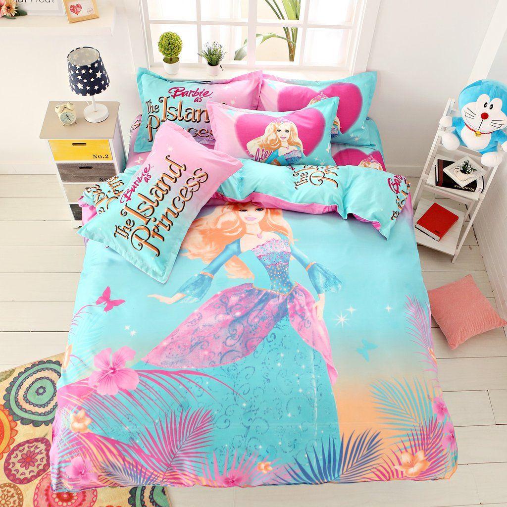 The Island Princess Barbie 01 Girls Cartoon Bedding Bed Set