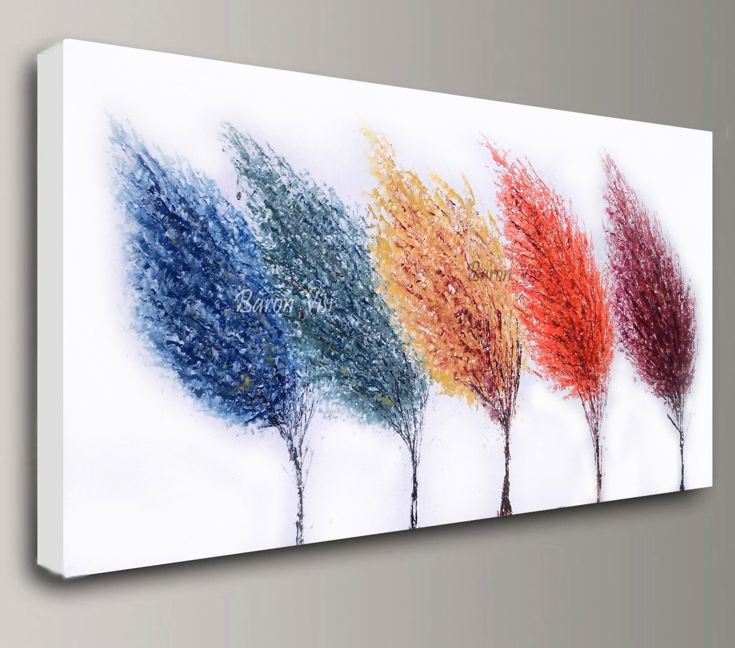 abstract painting Acrylic multi colour trees art original ...