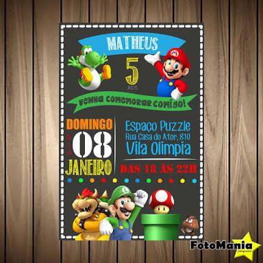 Resultado De Imagem Para Convite Mario Bros Super Mario
