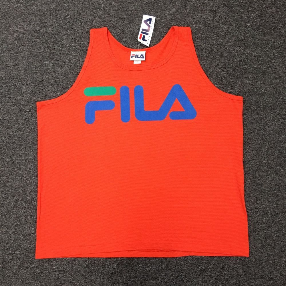 7b755d22932ed AVAILABLE ON EBAY!! NWT!!!! Vtg 90s FILA Tank Top Workout Orange ...