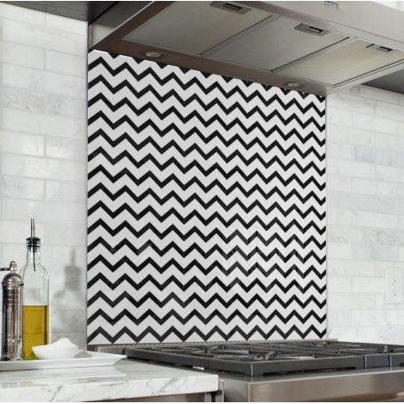 Fond de hotte de cuisine motif g om trique zigzag noir Fond de cuisine