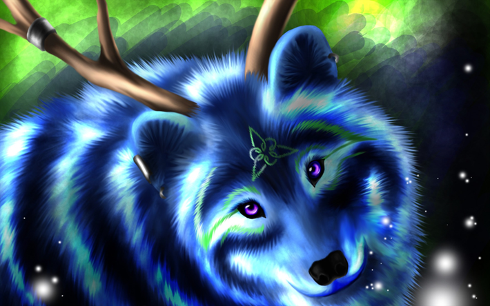 Download Wallpapers Blue Wolf Art Painted Wolf Predator Forest