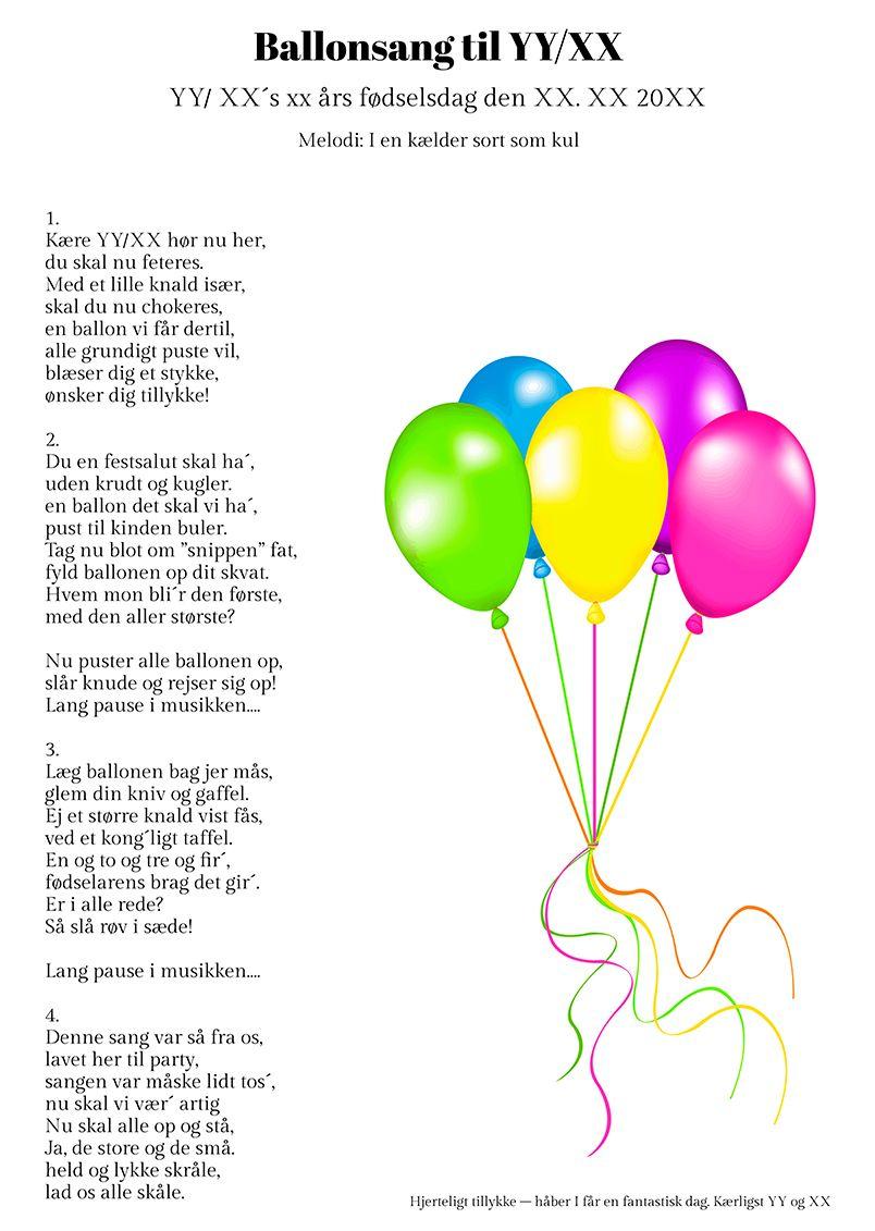 Ballonsangen Til Fodselaren Fodselsdagsideer Fodselsdagskort Ideer Fest