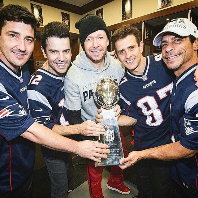 Wishing luck to the Patriots tonight! Hopefully we'll be bringing another one of these onstage this year! #patriots #nkotb #superbowl #gopats