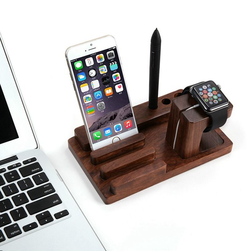 2017 New Genuine Wood Multi Functional Charging Stand Holder For Cellphone  Tablet PC Smart Watch