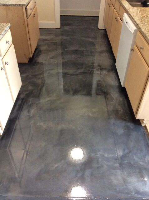 metallic epoxy floor coating in a kitchen. #metallicepoxy