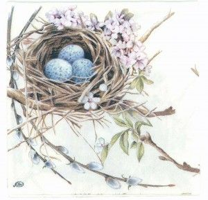 Decoupage Paper Napkins of Robin Bird Nest with Eggs Luncheon Napkin | Decoupage Paper