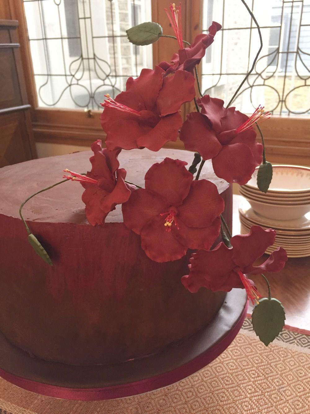 Chocolate Wedding Cake With Statement Hibiscus Flowers Modern