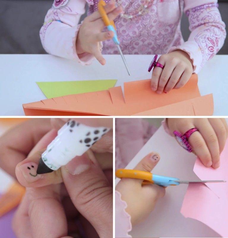 Diversão sim, bagunça não. Para ensinar as crianças a cortarem usando tesouras, você pode desenhar uma carinha sorridente na unha do dedão delas. Desta maneira, os pequenos sempre saberão qual dedo tem que ficar por cima.