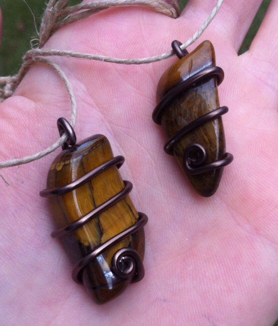 Wire Wrapped Tigers Eye Necklace on Etsy, $7.00