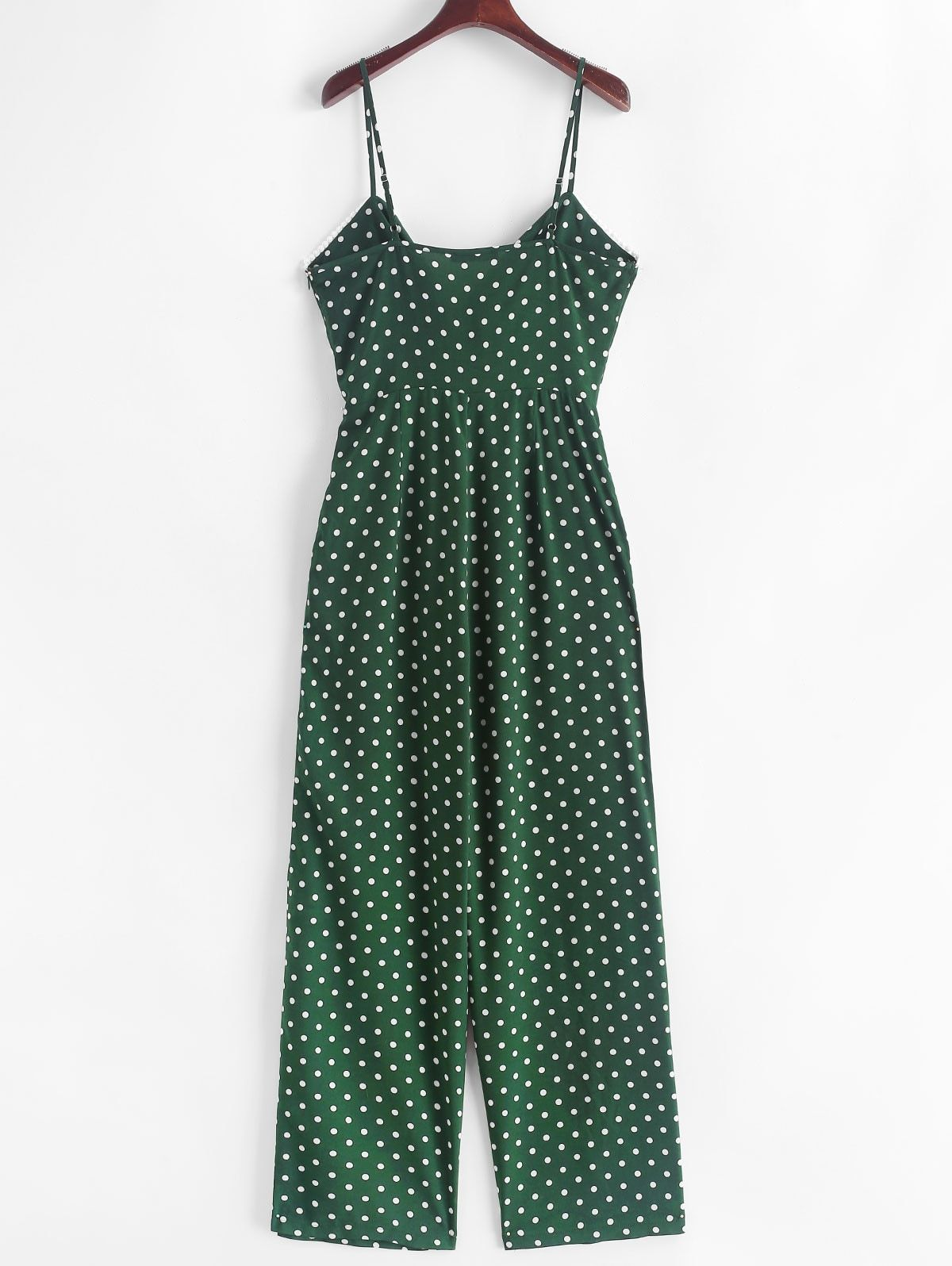 b147653b2a2f Polka Dot Tie Front Cami Jumpsuit in 2019   Styles Inspiration Chic ...
