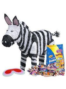 Zebra Pinata Kit by COSTUME SUPERCENTER. $30.99. No party will be more wild than yours when you bring out this Zebra Pinata Kit. The kit includes a shaped pinata, blindfold, pull-string conversion kit and a bag of filler. The wild pinata is striped and shaped to look like a zebra. The belly of this wild animal is full of treats. The 3 pound bag of filler stuffed inside this wild pinata can be released in 2 different ways. You can slip the included blindfold on each of you...
