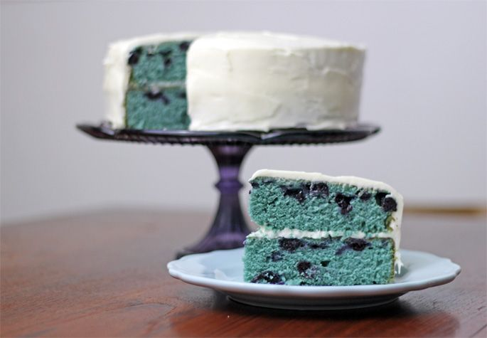 {blueberry velvet cake w/ cream cheese frosting #recipe} betting that crushing some of the berries would provide enough color that food coloring wouldn't be needed. blueberry season: typically may-late summer. #summer #partyfood