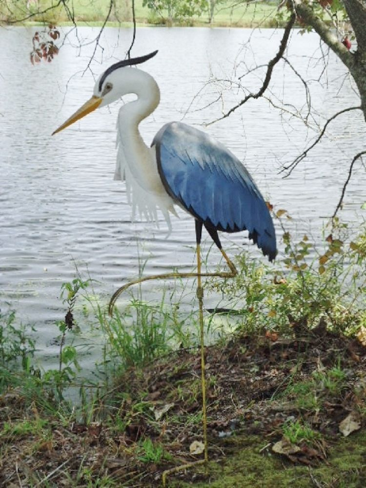 Blue heron garden statue metal coastal bird outdoor crane