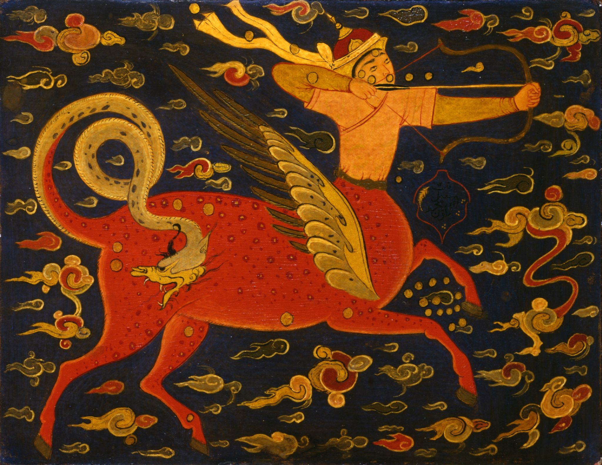 """Lacquer painting on cardboard with the constellation """"Sagittarius"""". Iran; 19th century. H: 13.5; W: 17.5 cm. Inv. no. 10c/1991. The David Collection © THE DAVID COLLECTION"""