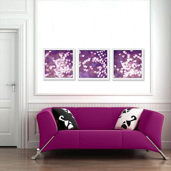 Heart bokeh photo set abstract light photography 10x10 inch print set dorm room decor fine art photography purple plum pink wall art girly
