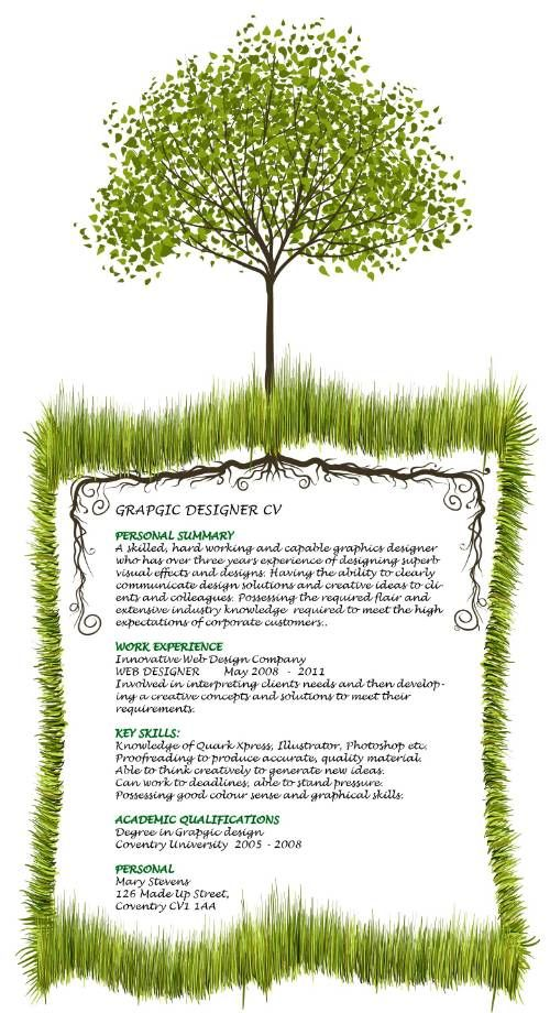 creative graphic designer CV template that includes a tree and - visual designer resume