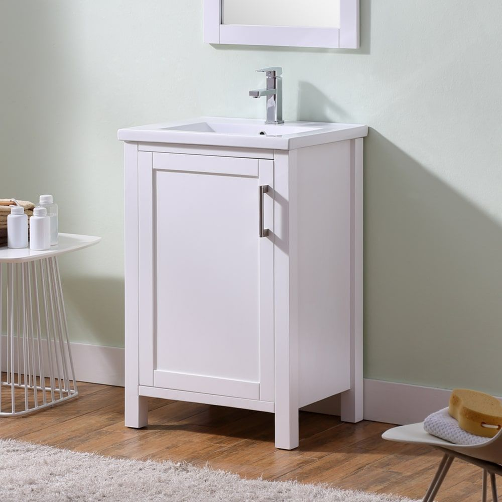 Infurniture White Wood Bathroom Vanity with 24-inch Thick Edge and ...