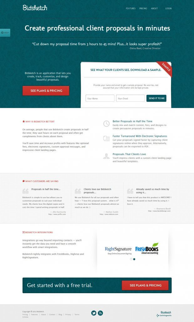 Bidsketch Proposal Software Best Website Web Design Inspiration