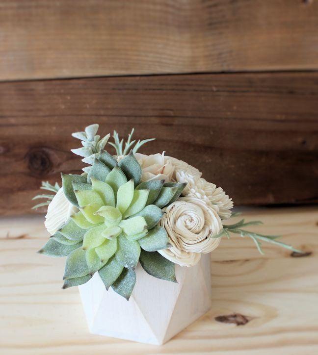 Small artificial succulent arrangement centerpiece for Wood vases for centerpieces