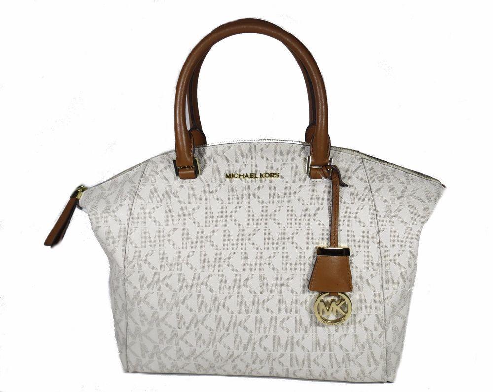4f6ecaaa10190b Michael Kors Riley Large Signature PVC Satchel Bag Vanilla for sale online    eBay